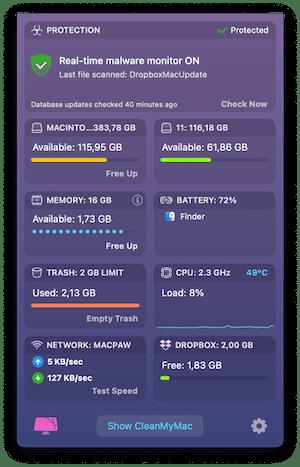 CleanMyMac X menu