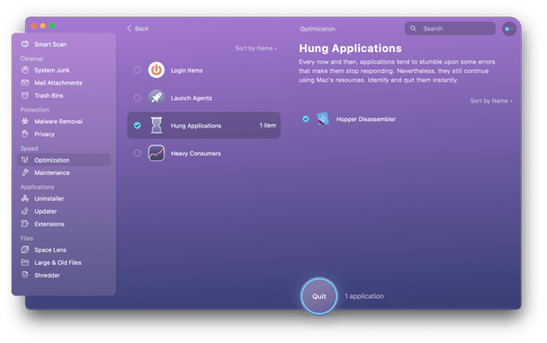 CleanMyMac X - hung applications
