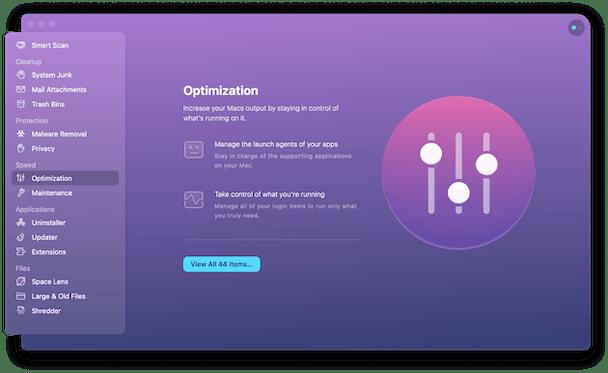 CleanMyMac X - Optimization module